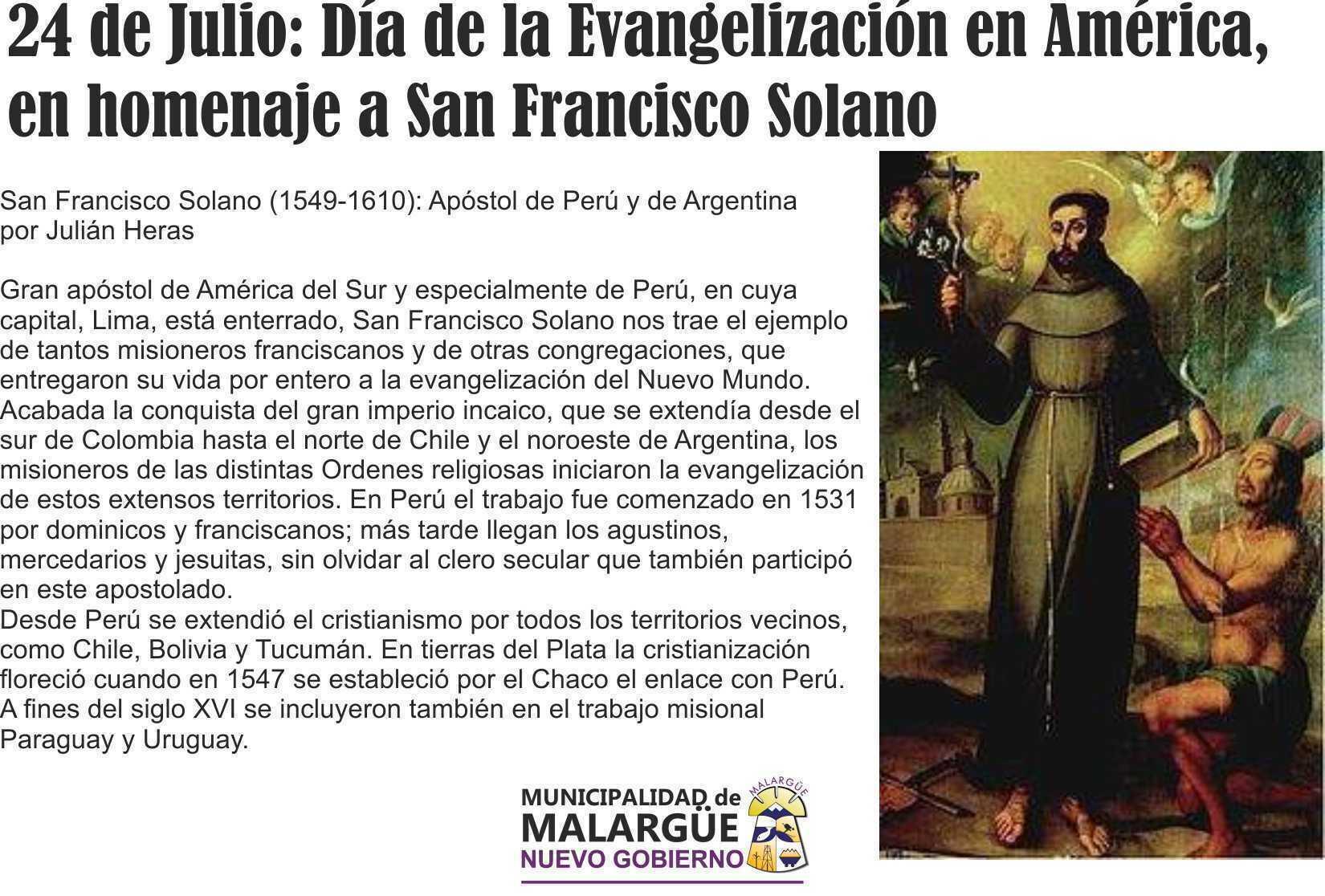 24 de Julio día de la Evangelización en América