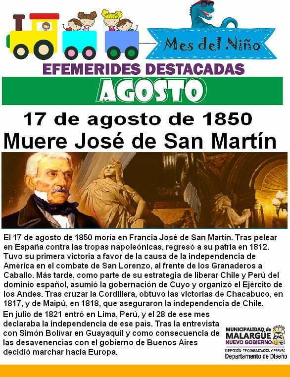 17 de Agosto, Muere José de San Martín