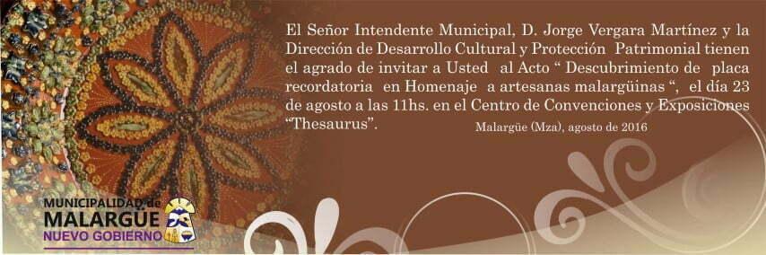 invitación al Descubrimiento de placa recordatoria en Homenaje a Artesanas Malargüinas