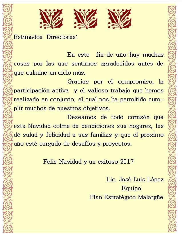 Salutación Plan Estratégico Malargüe