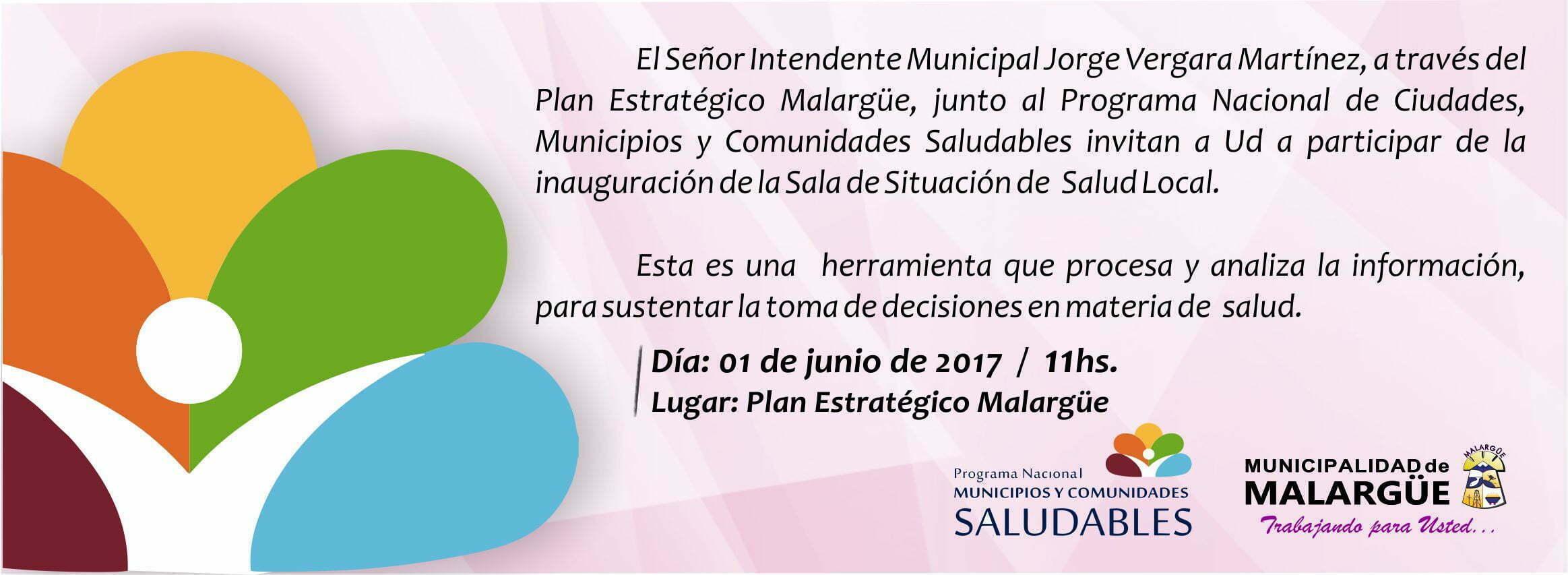 Invitación del Sr. Intendente Municipal Dn. Jorge Vergara Martinez a la Inauguración de la sala de Situación de Salud Local