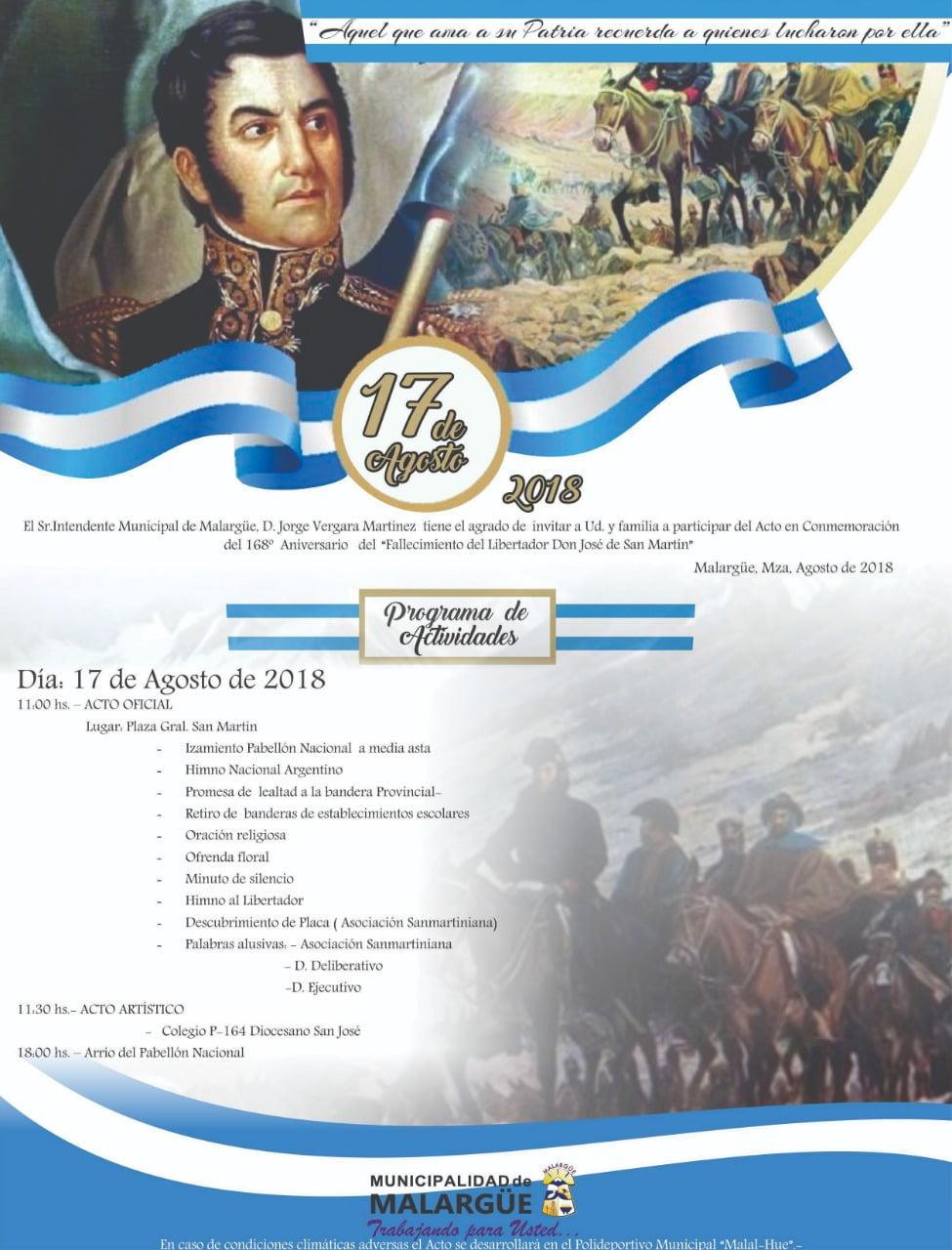 Invitación para los actos programados por el 17 de Agosto