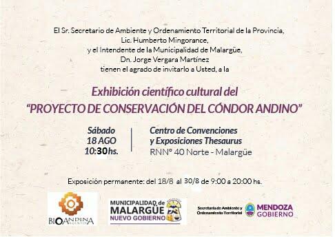 """Invitación """"Proyecto de conservación del Cóndor Andino"""""""